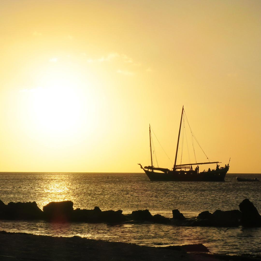 Gelezen op Bonaire: zonsondergang