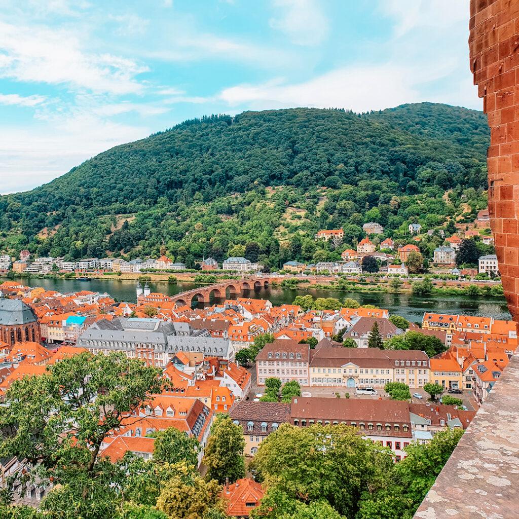 Prachtig uitzicht vanaf het kasteel in Heidelberg, Duitsland